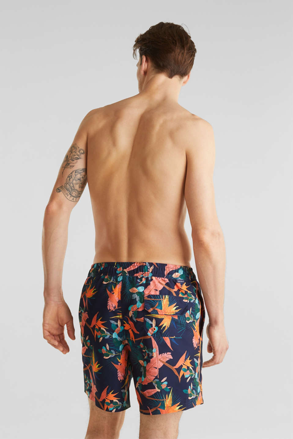 Swim shorts with a tropical print, NAVY 2, detail image number 1