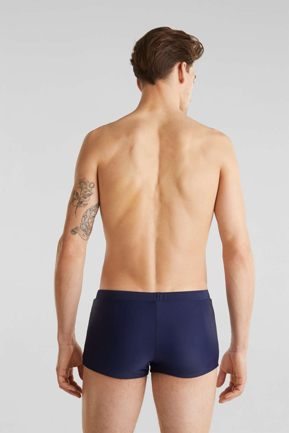 Retro swim shorts with stripes, NAVY 2, detail image number 1