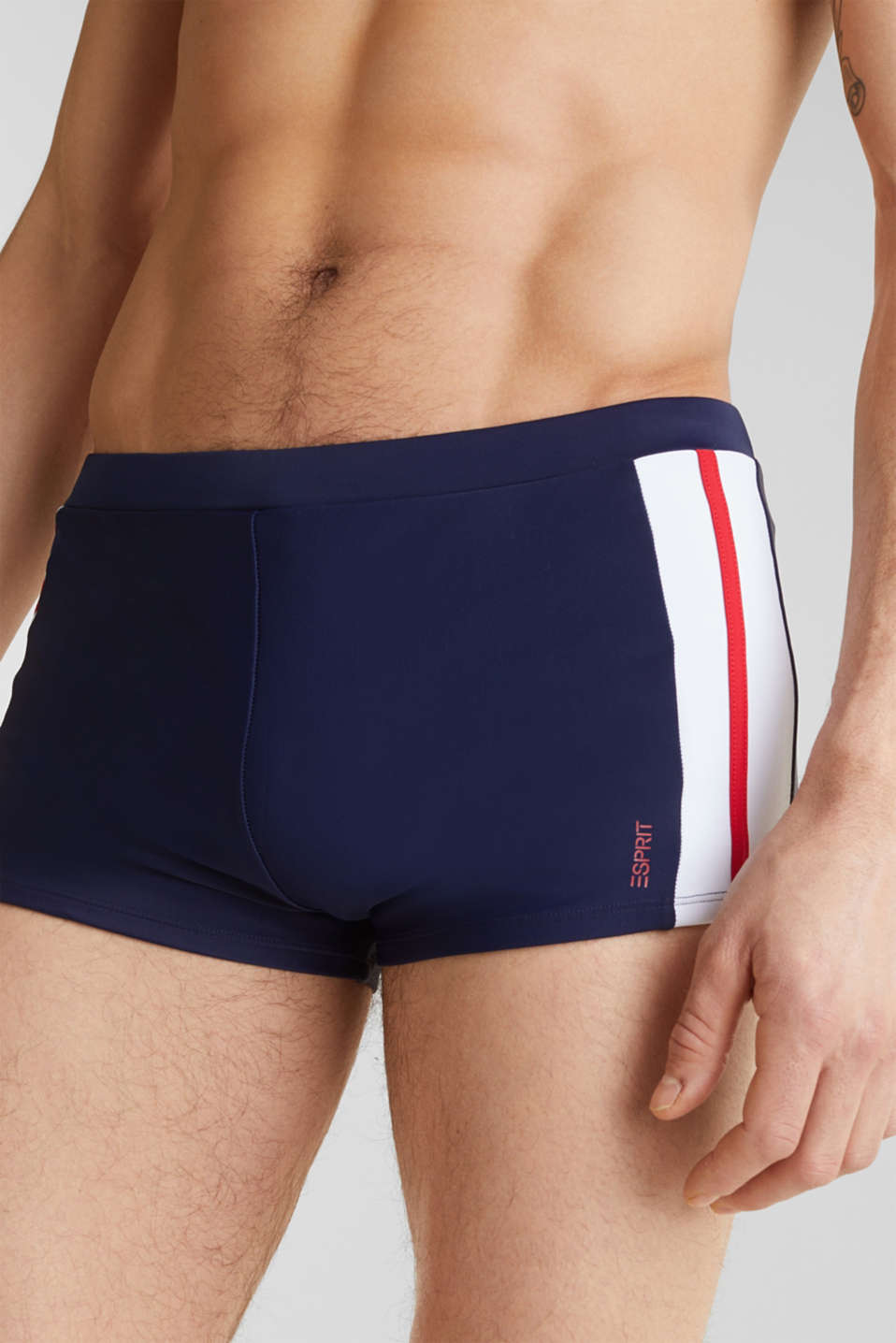 Retro swim shorts with stripes, NAVY 2, detail image number 2