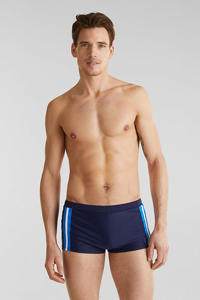 Retro swim shorts with stripes, NAVY, detail image number 0