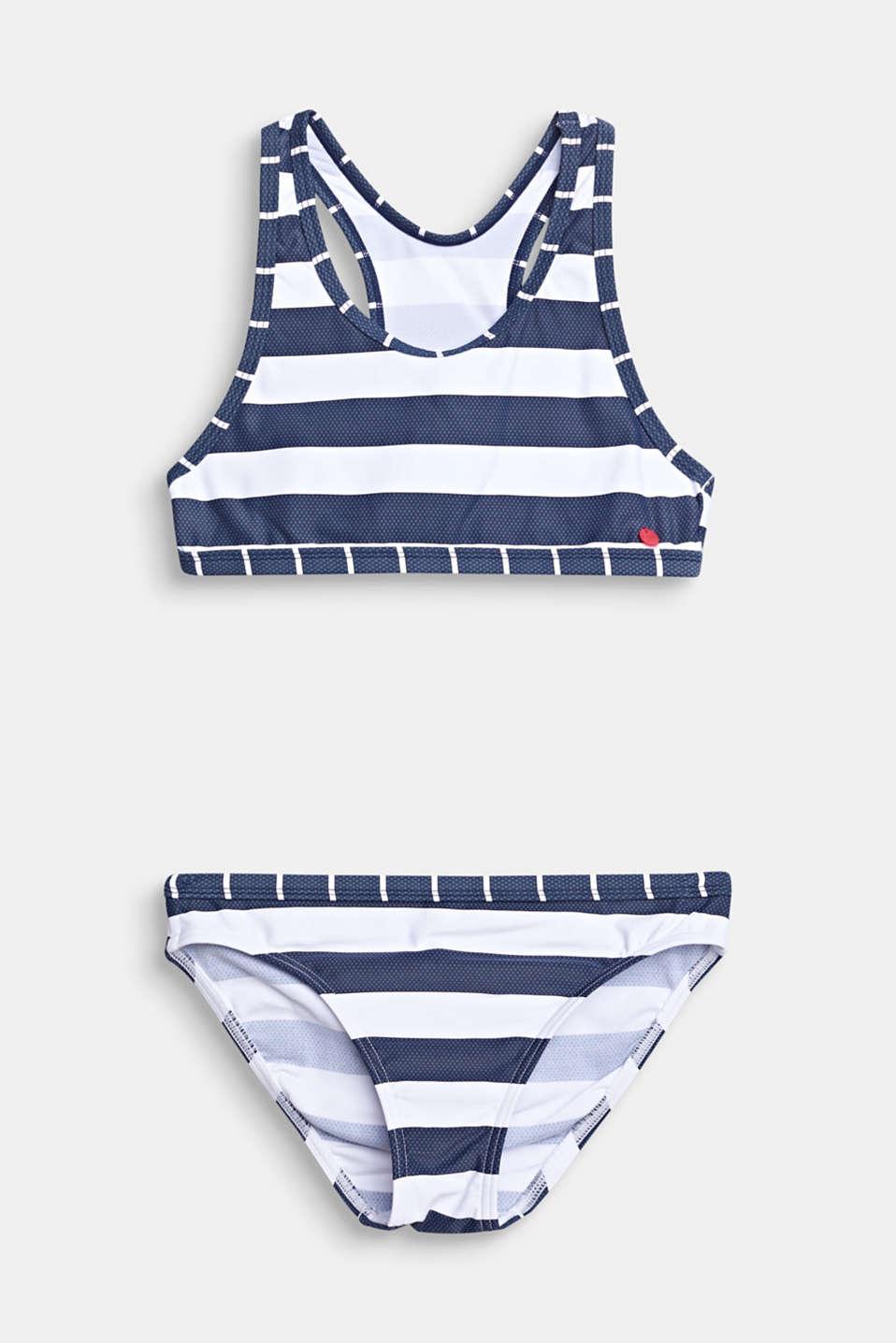 Crop top bikini set with stripes, DARK BLUE, detail image number 0