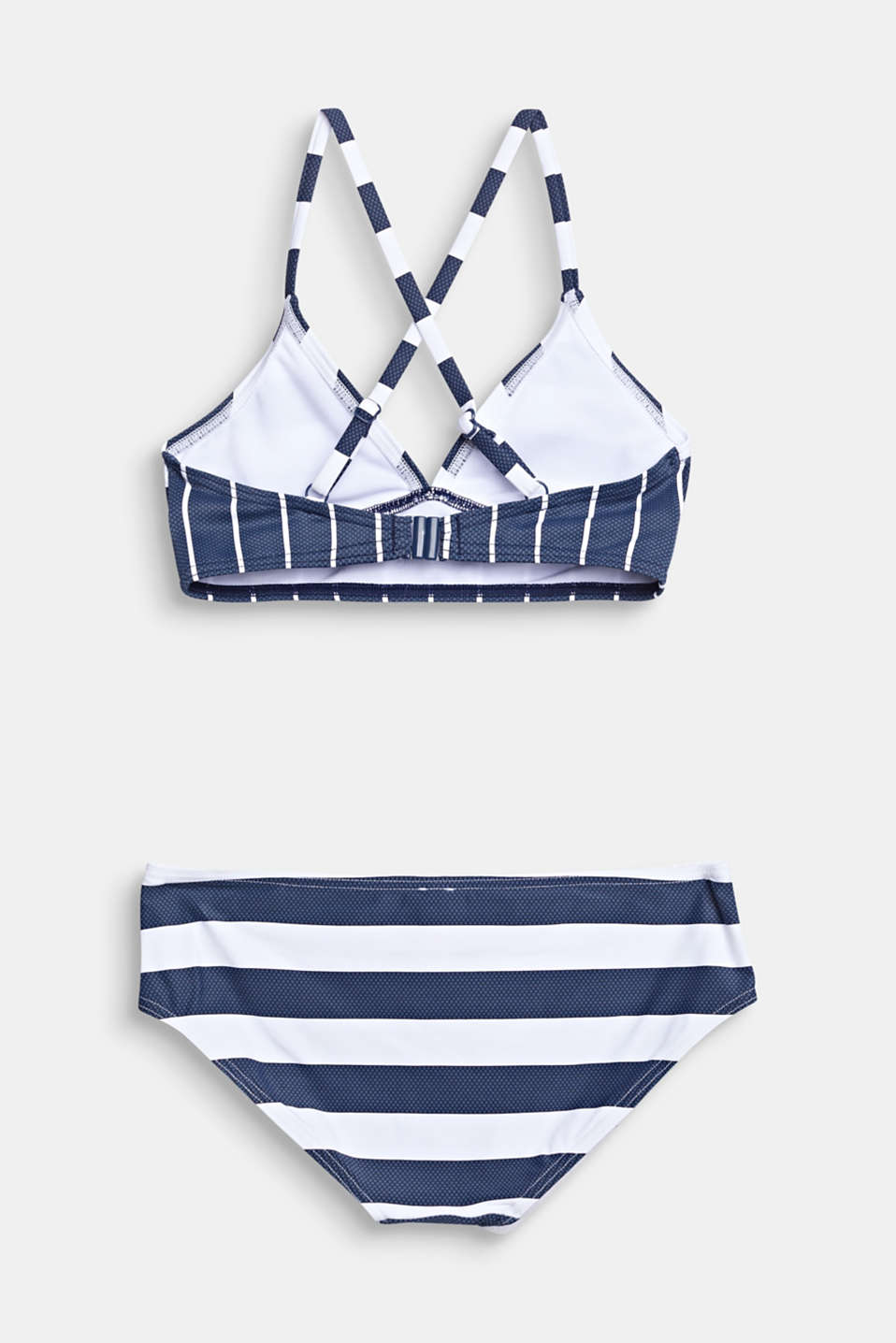 Striped crop top bikini, DARK BLUE, detail image number 1