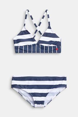 Striped crop top bikini, DARK BLUE, detail