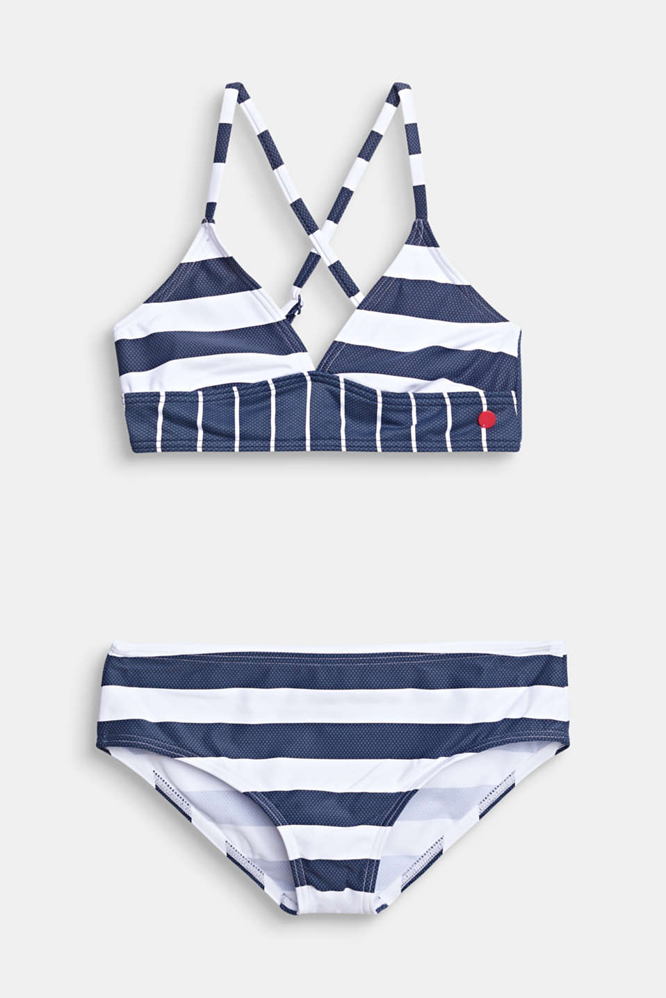 Striped crop top bikini, DARK BLUE, detail image number 0