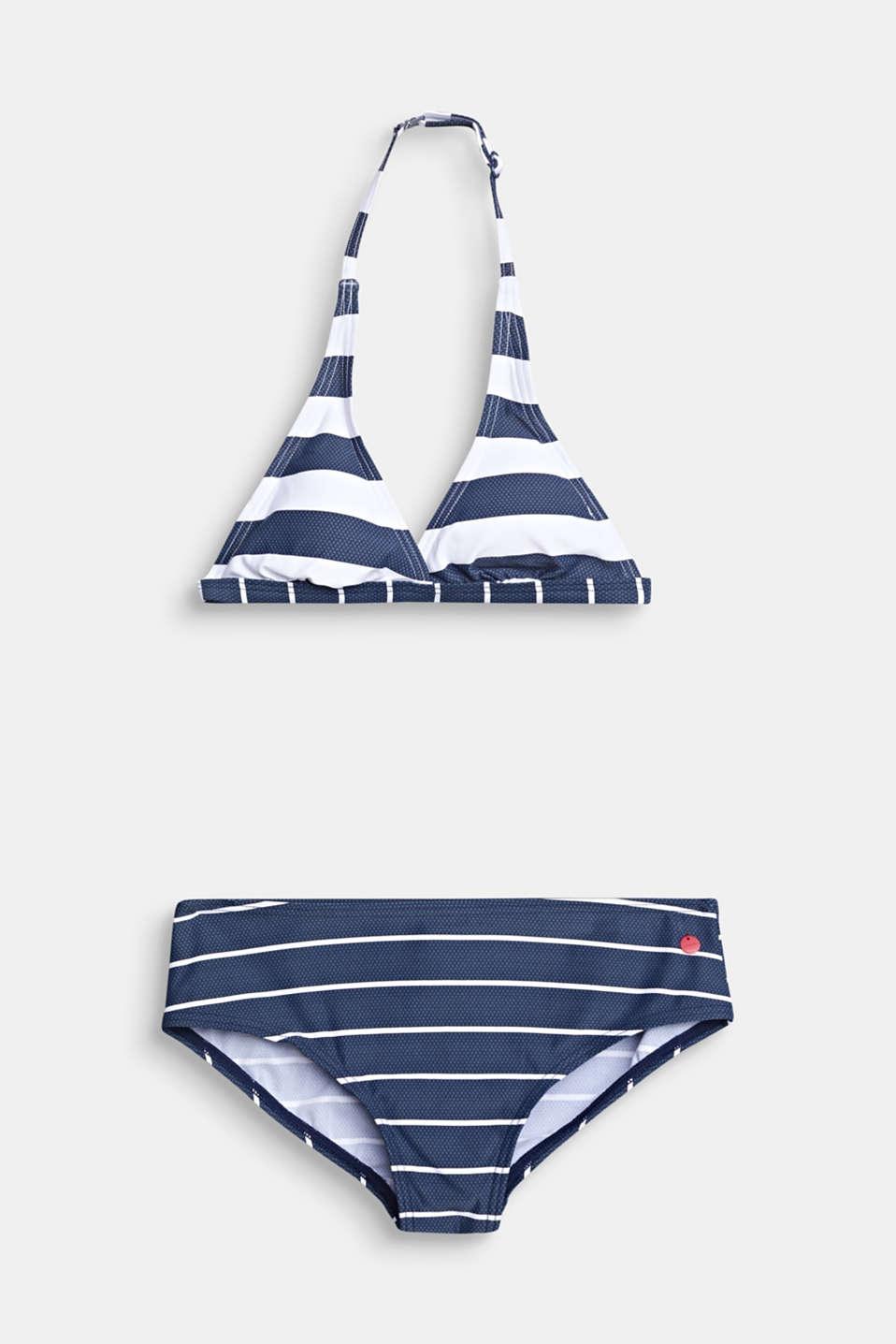 Halterneck bikini set with light padding, DARK BLUE, detail image number 0