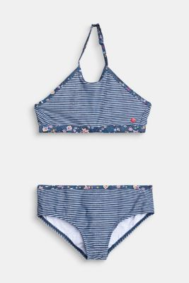 Striped high-neck bikini with floral details, GREY BLUE, detail