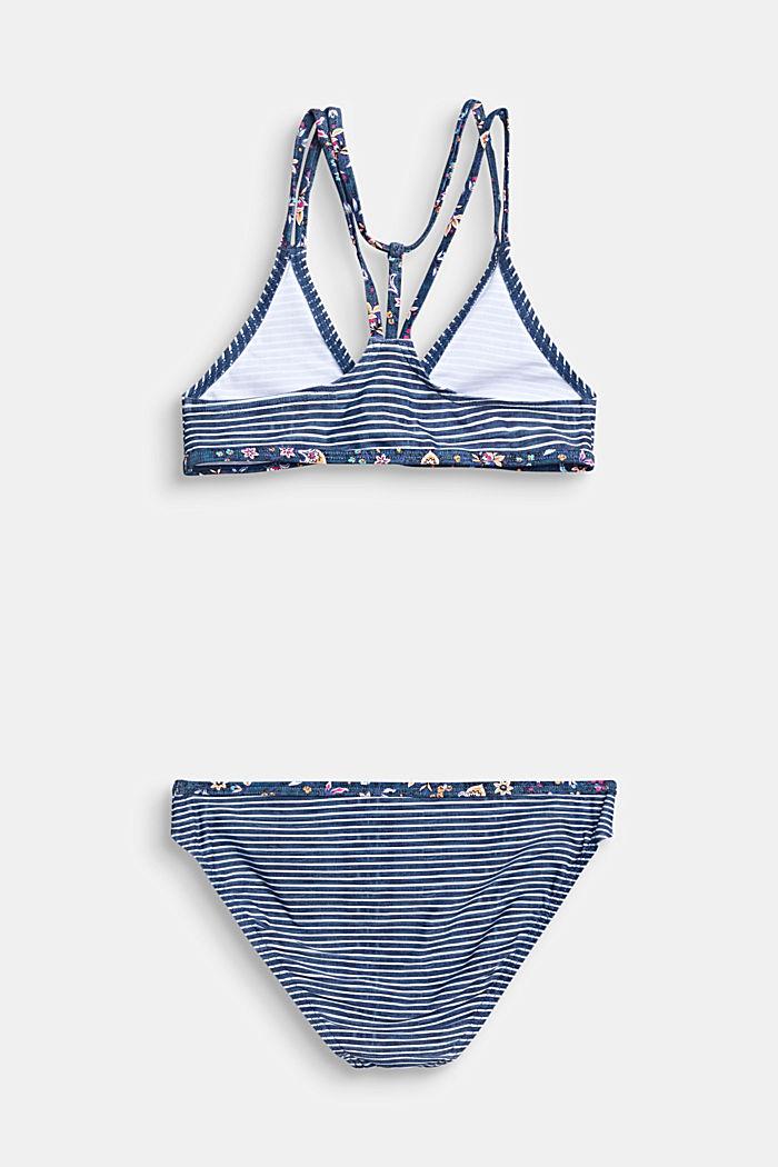 Gestreiftes Bustier-Bikini-Set mit Blumen-Akzenten, GREY BLUE, detail image number 1