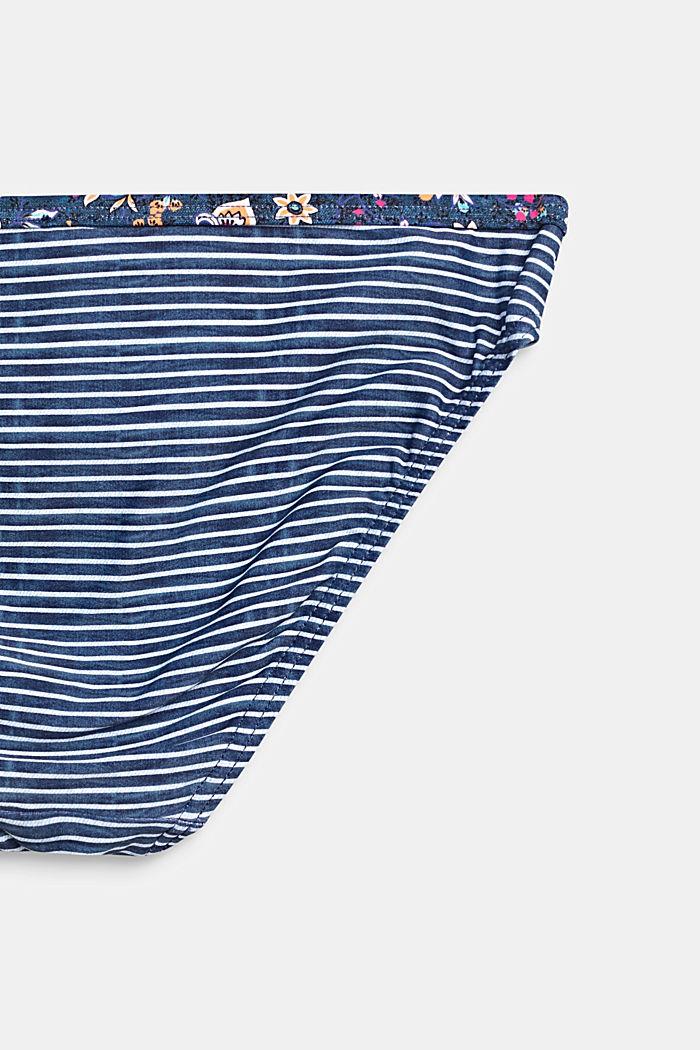 Gestreiftes Bustier-Bikini-Set mit Blumen-Akzenten, GREY BLUE, detail image number 2