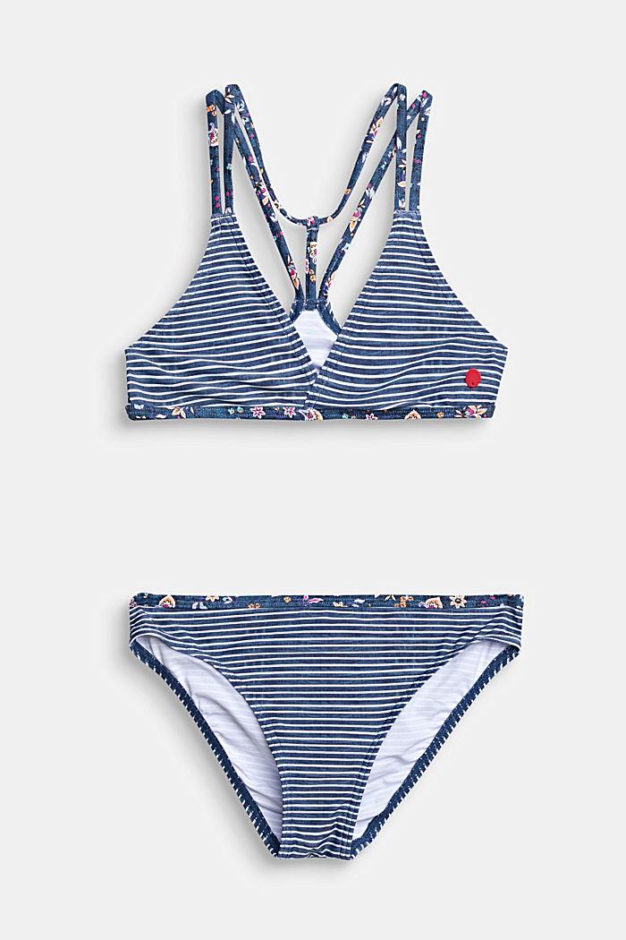 Gestreiftes Bustier-Bikini-Set mit Blumen-Akzenten, GREY BLUE, detail image number 0