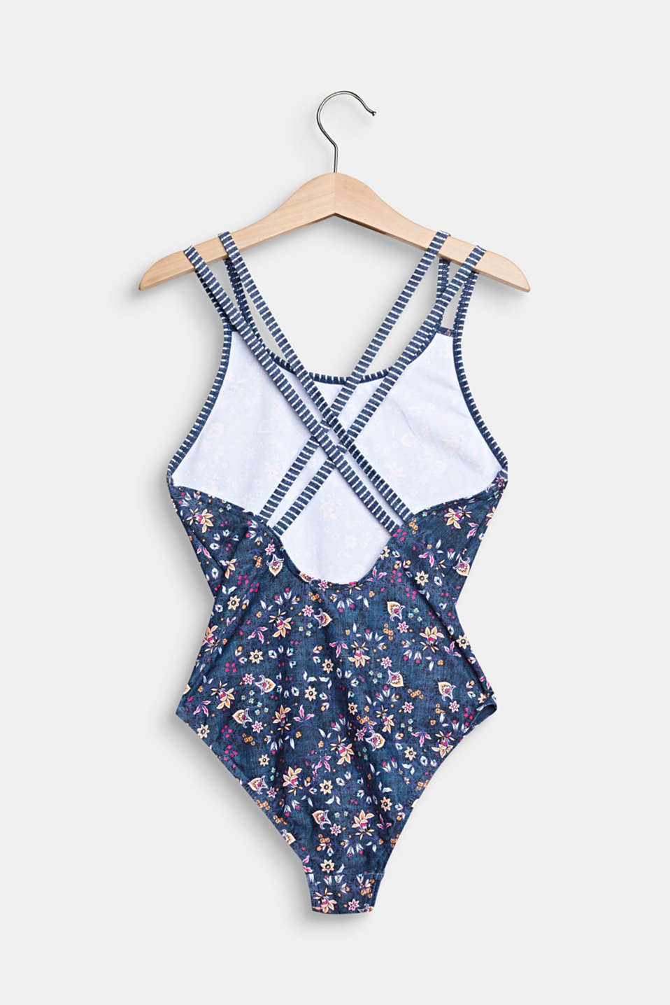 Floral swimsuit with cross-over straps, GREY BLUE, detail image number 1