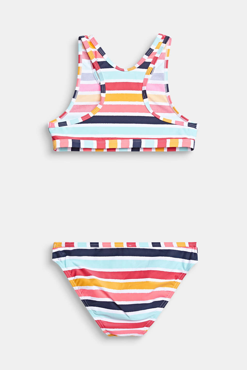 Crop top bikini set with multi-coloured stripes, SUNFLOWER YELLOW, detail image number 1