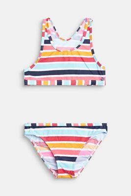 Crop top bikini set with multi-coloured stripes, SUNFLOWER YELLOW, detail
