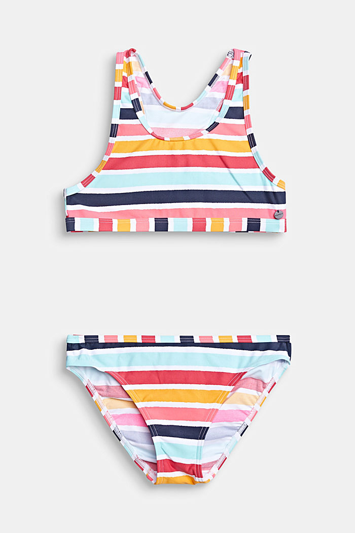 Crop top bikini set with multi-coloured stripes, SUNFLOWER YELLOW, detail image number 0