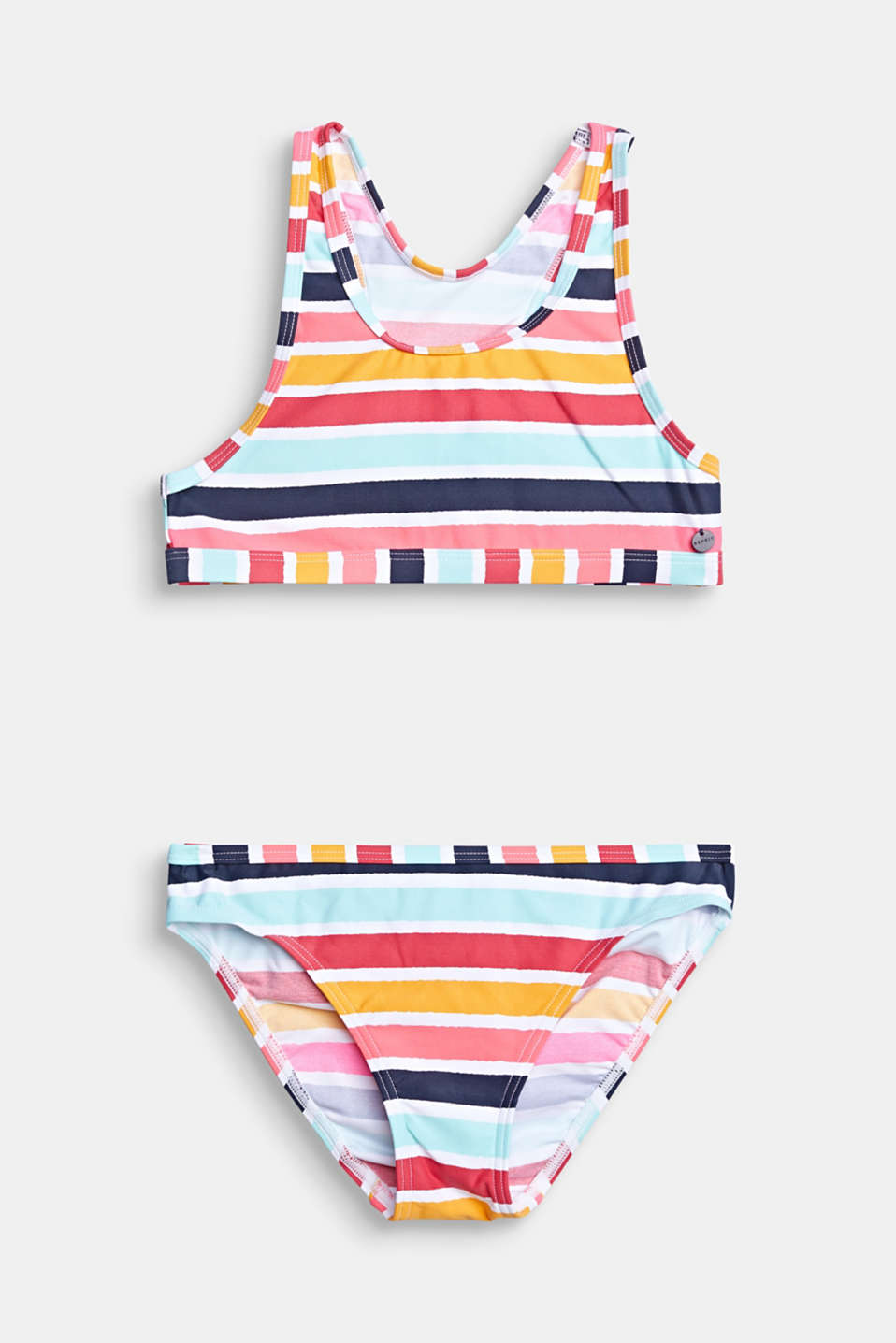 Esprit - Crop top bikini set with multi-coloured stripes