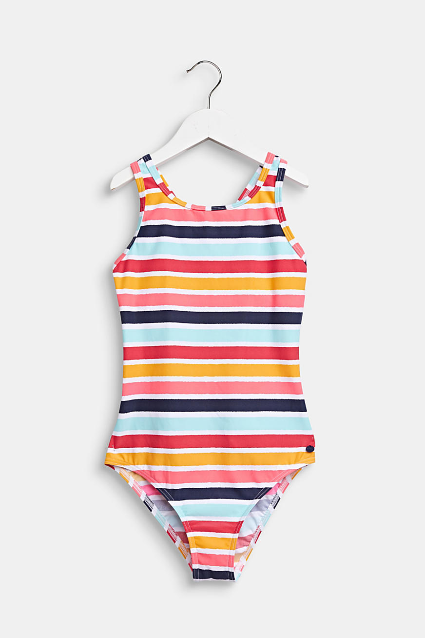 Colourfully striped swimsuit with crossed-over straps
