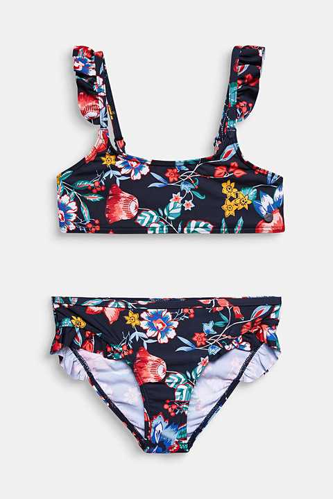 Bustier bikini top with frills