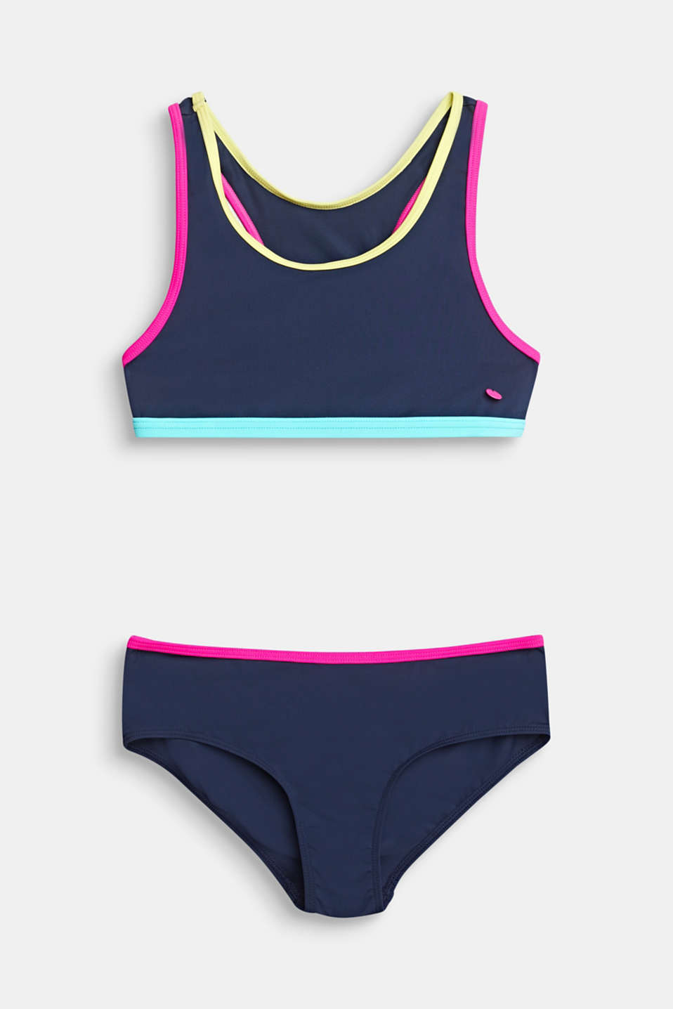 Crop top bikini set with colour accents, NAVY 2, detail image number 0