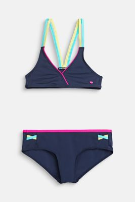 Triangle bikini with colourful double-layer straps, NAVY 2, detail