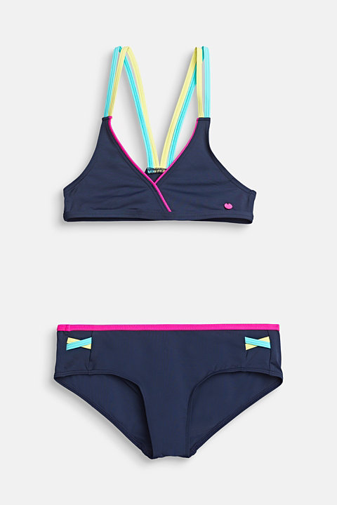 Triangle bikini with colourful double-layer straps