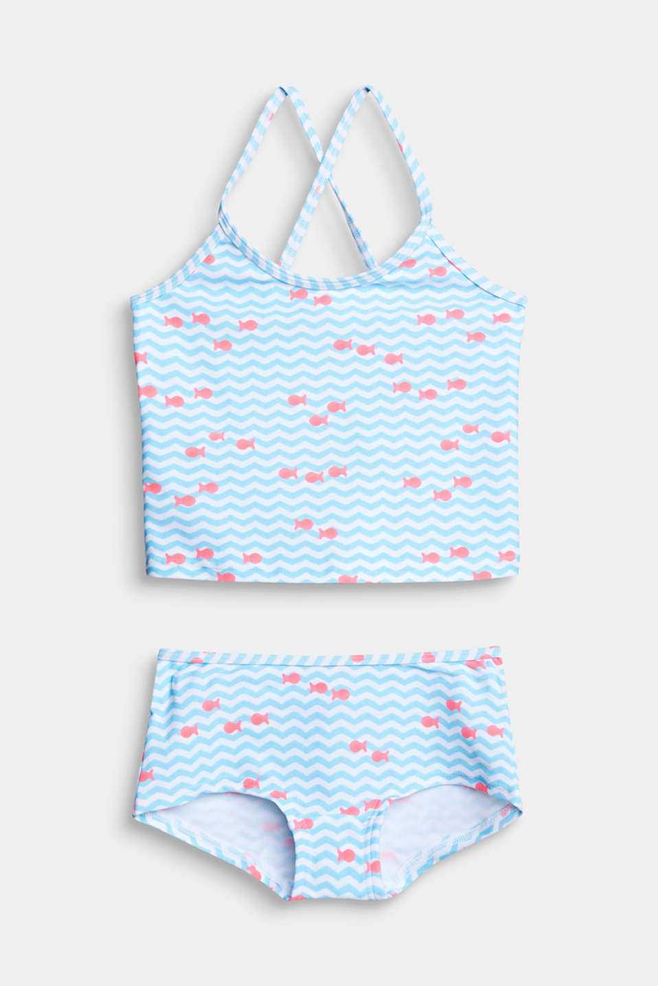 Tankini with a fish print, LIGHT TURQUOISE, detail image number 0
