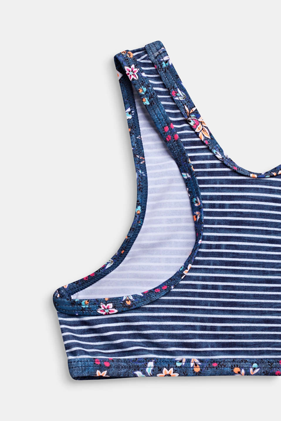 Crop top bikini with stripes and flowers, GREY BLUE, detail image number 2