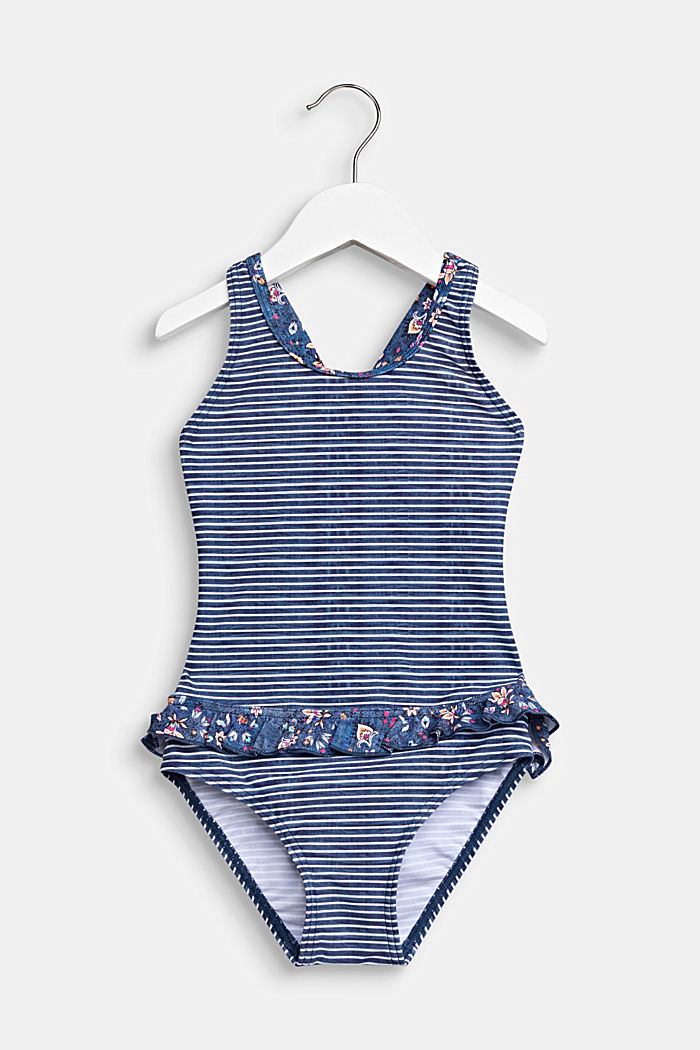 Swimsuit with crossed-over straps and frills