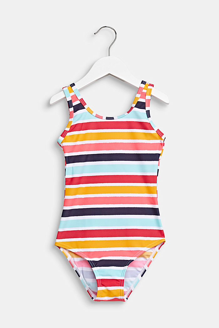 Colourfully striped swimsuit, SUNFLOWER YELLOW, detail image number 0