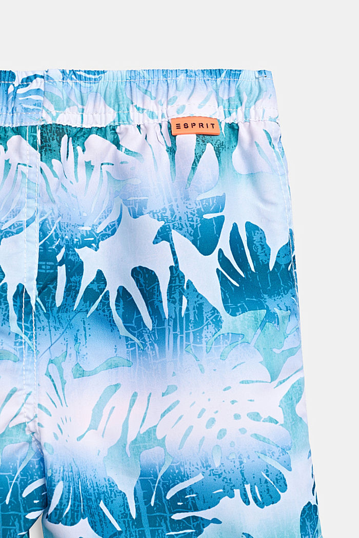 Zwemshort met tropische print, LIGHT TURQUOISE, detail image number 3
