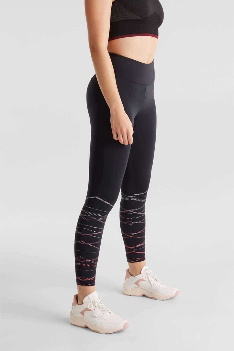 Compression leggings with shiny stripes, E-DRY, BLACK, detail image number 5