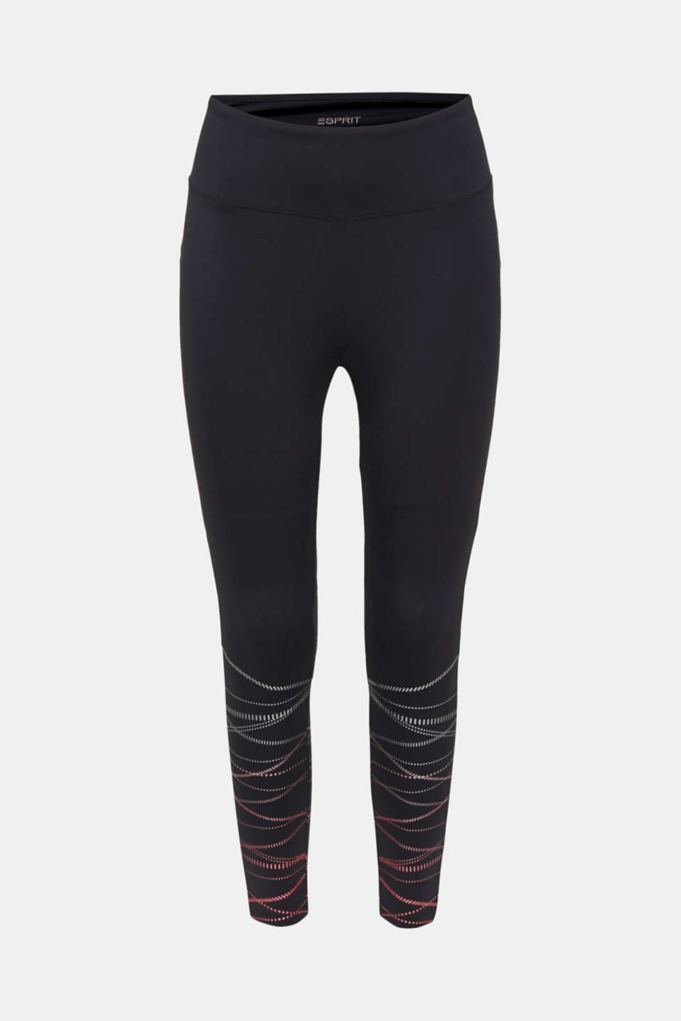 Compression leggings with shiny stripes, E-DRY, BLACK, detail image number 6