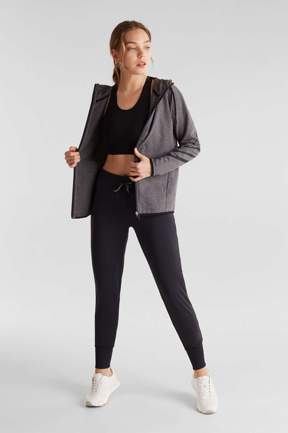 Active trousers with hem cuffs, E-DRY, BLACK, detail image number 1