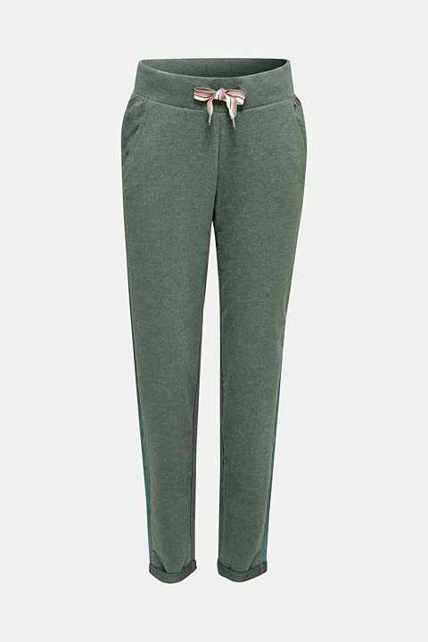 Jersey trousers with glittering stripes