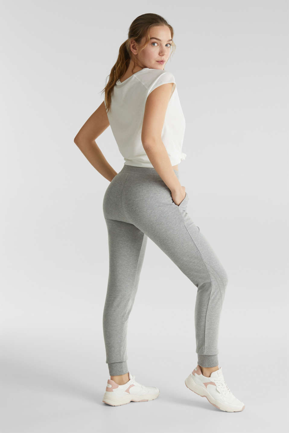 Soft jersey trousers with stretch for comfort, MEDIUM GREY 2, detail image number 2
