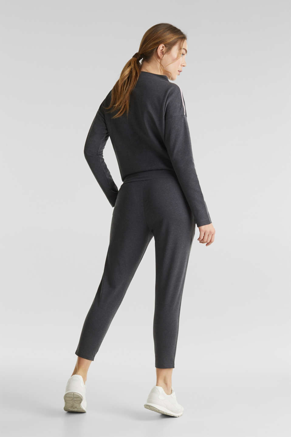 Ankle-length stretch jersey trousers with shiny details, ANTHRACITE 2, detail image number 3