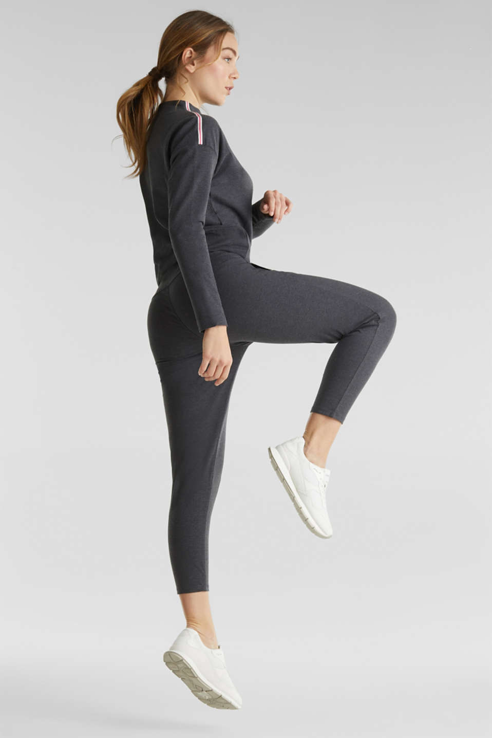 Ankle-length stretch jersey trousers with shiny details, ANTHRACITE 2, detail image number 1