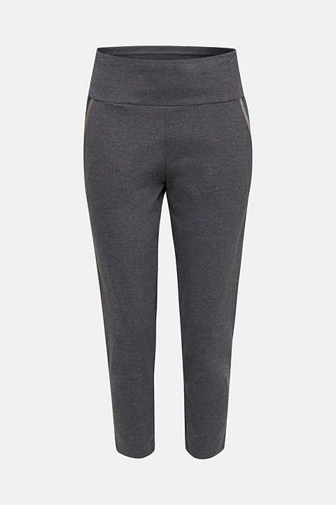 Ankle-length stretch jersey trousers with shiny details