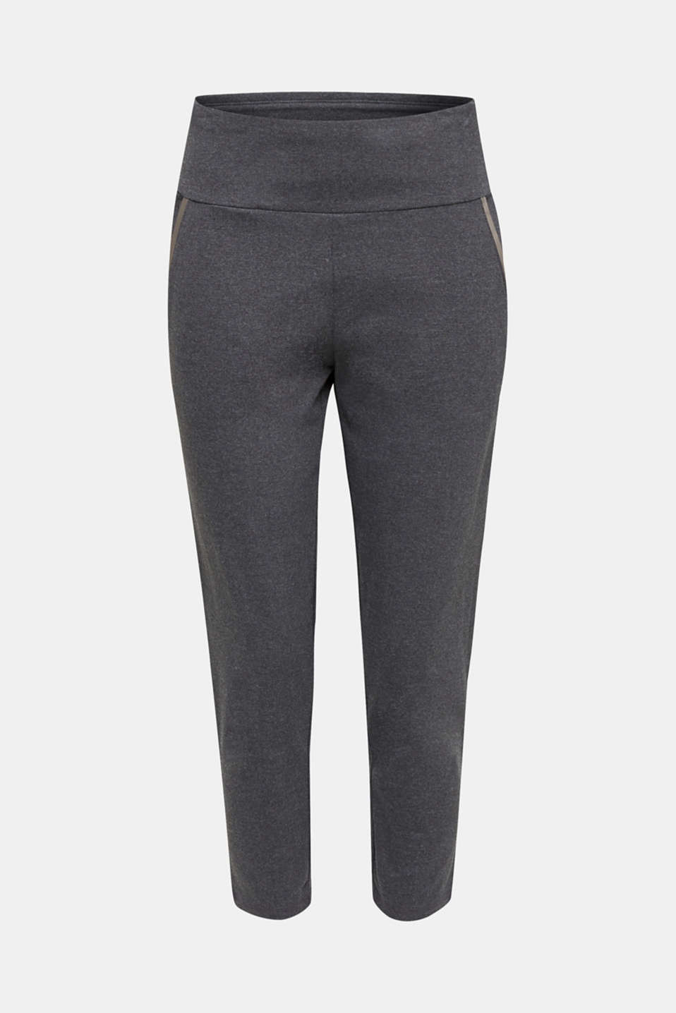 Ankle-length stretch jersey trousers with shiny details, ANTHRACITE 2, detail image number 6