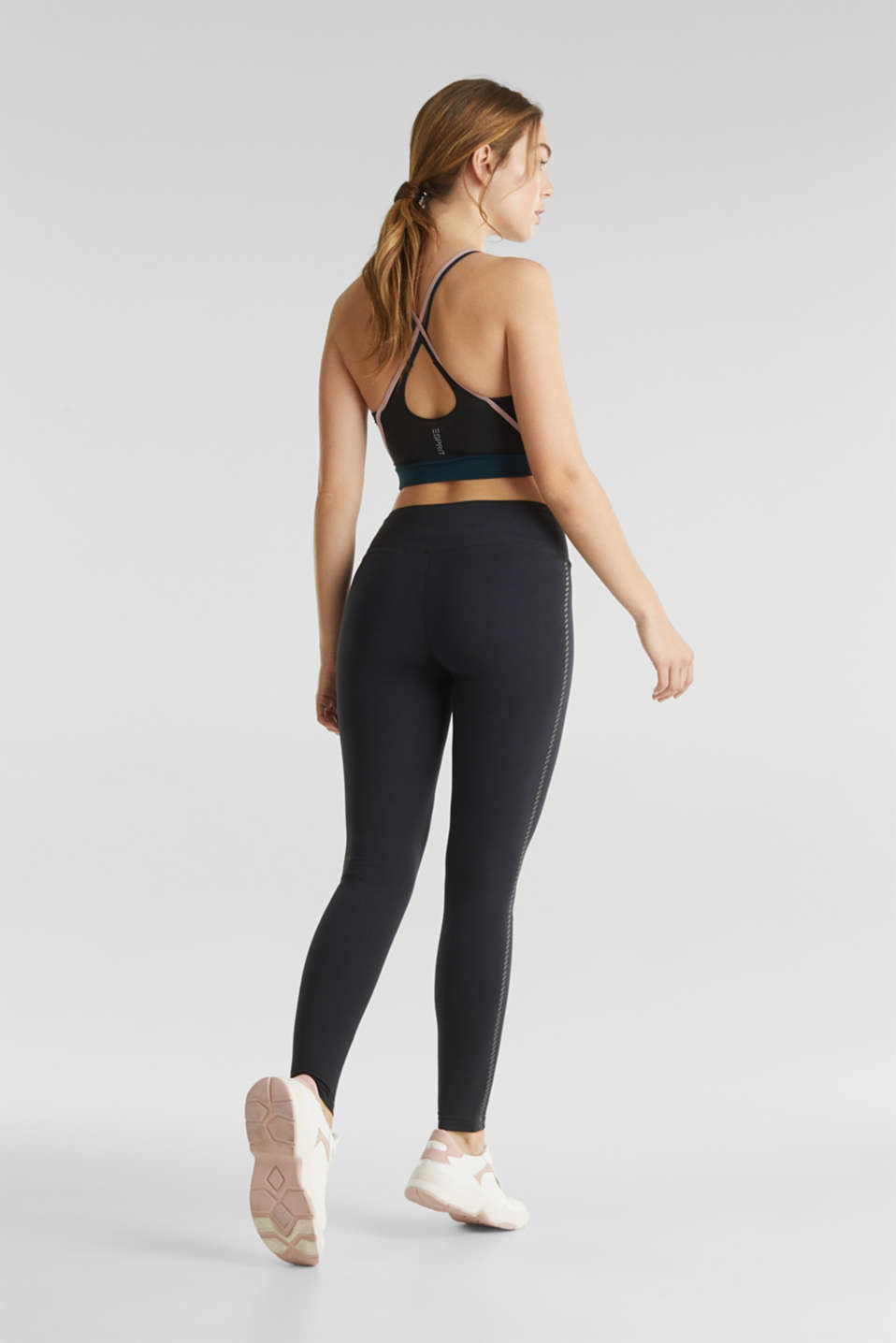 Active leggings with a shiny print, ANTHRACITE, detail image number 3