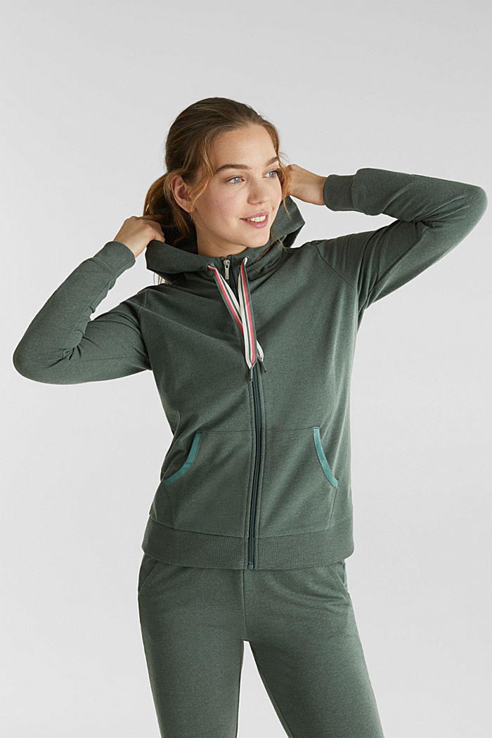 Sweatshirt cardigan with trendy details, LIGHT KHAKI, detail image number 0