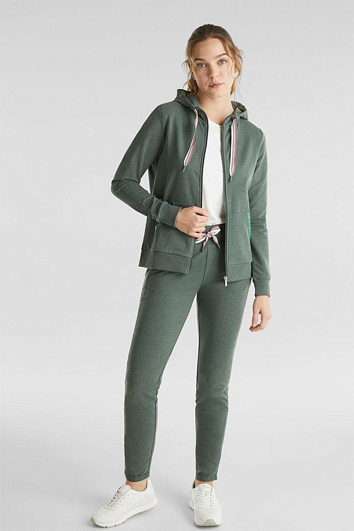 Sweat-Cardigan mit trendy Details, LIGHT KHAKI, detail image number 1