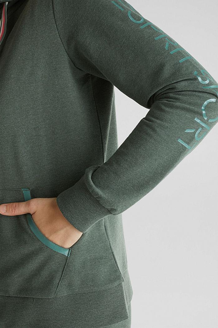 Sweatshirt cardigan with trendy details, LIGHT KHAKI, detail image number 5