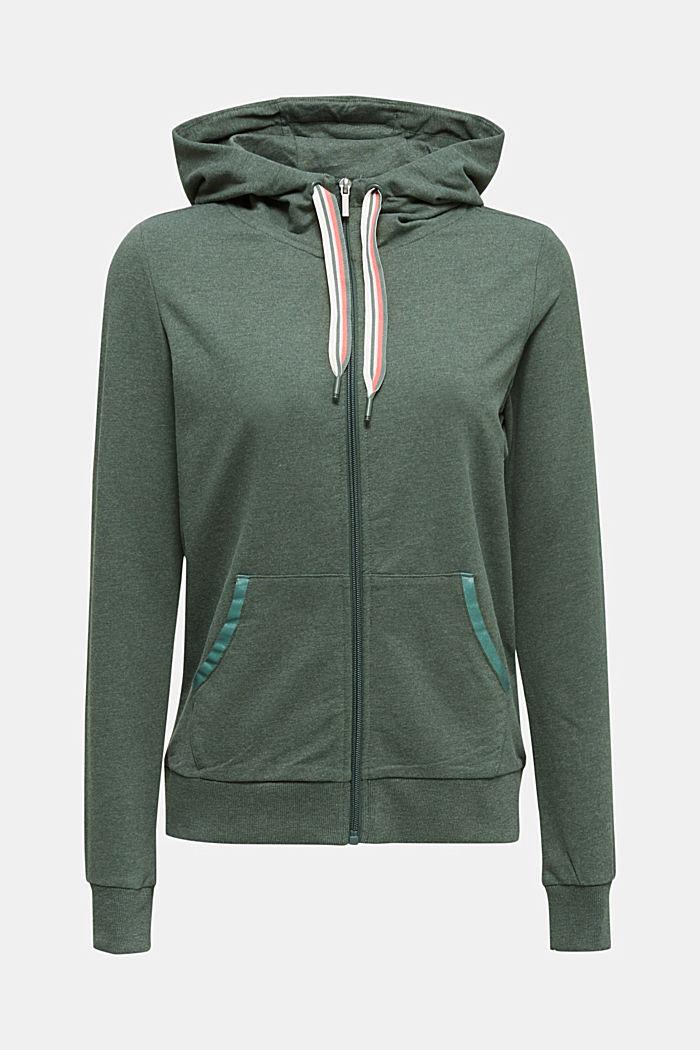 Sweatshirt cardigan with trendy details, LIGHT KHAKI, detail image number 8