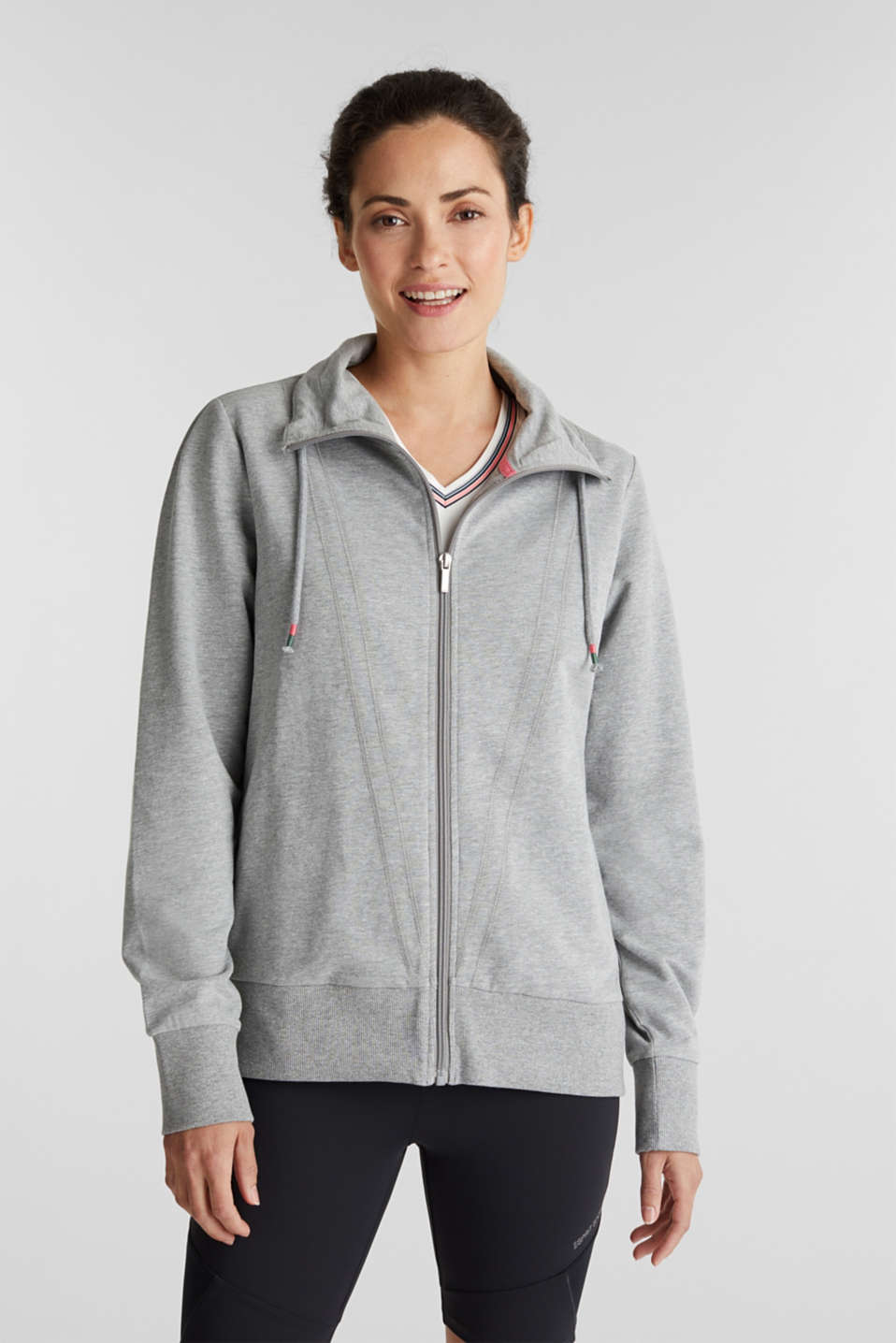 Esprit - Melange sweatshirt jacket with a drawstring collar