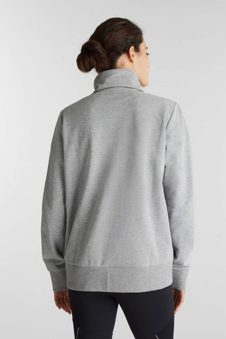Melange sweatshirt jacket with a drawstring collar, MEDIUM GREY 2, detail image number 3