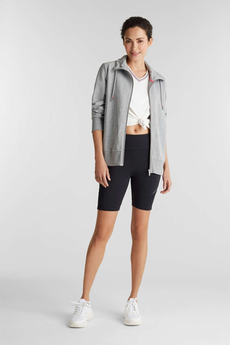 Melange sweatshirt jacket with a drawstring collar, MEDIUM GREY 2, detail image number 1