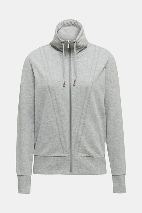 Melange sweatshirt jacket with a drawstring collar