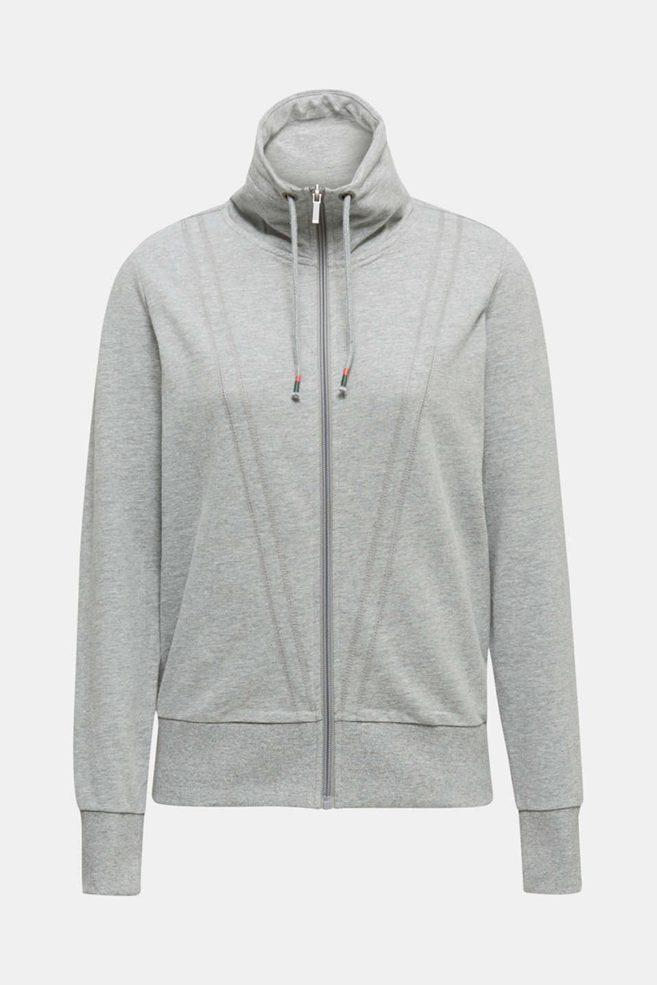 Melange sweatshirt jacket with a drawstring collar, MEDIUM GREY 2, detail image number 6