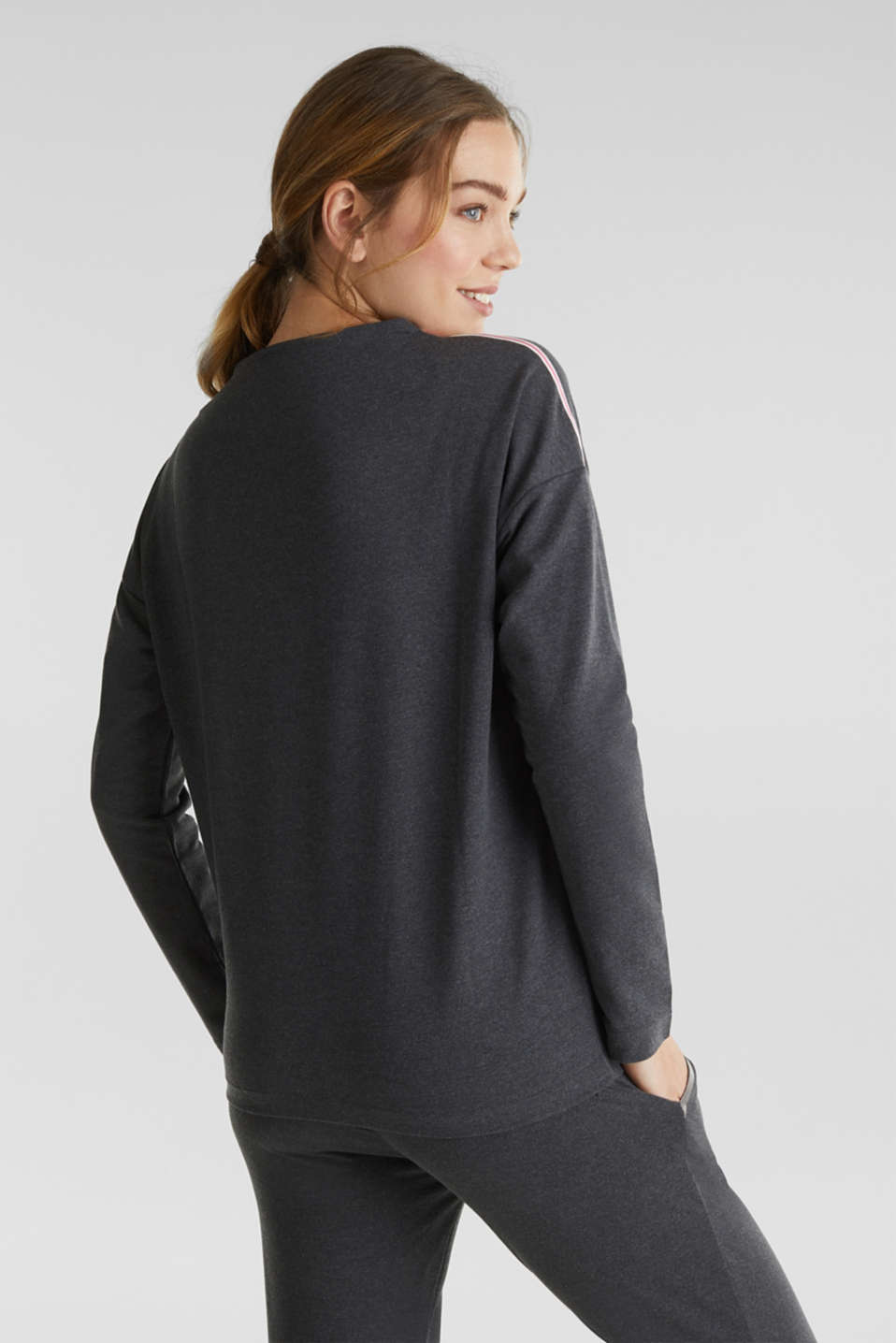 Lightweight sweatshirt with stripes and drawstring ties, ANTHRACITE 2, detail image number 3