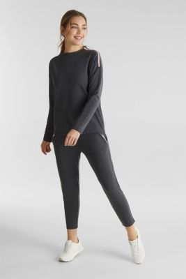 Lightweight sweatshirt with stripes and drawstring ties, ANTHRACITE 2, detail