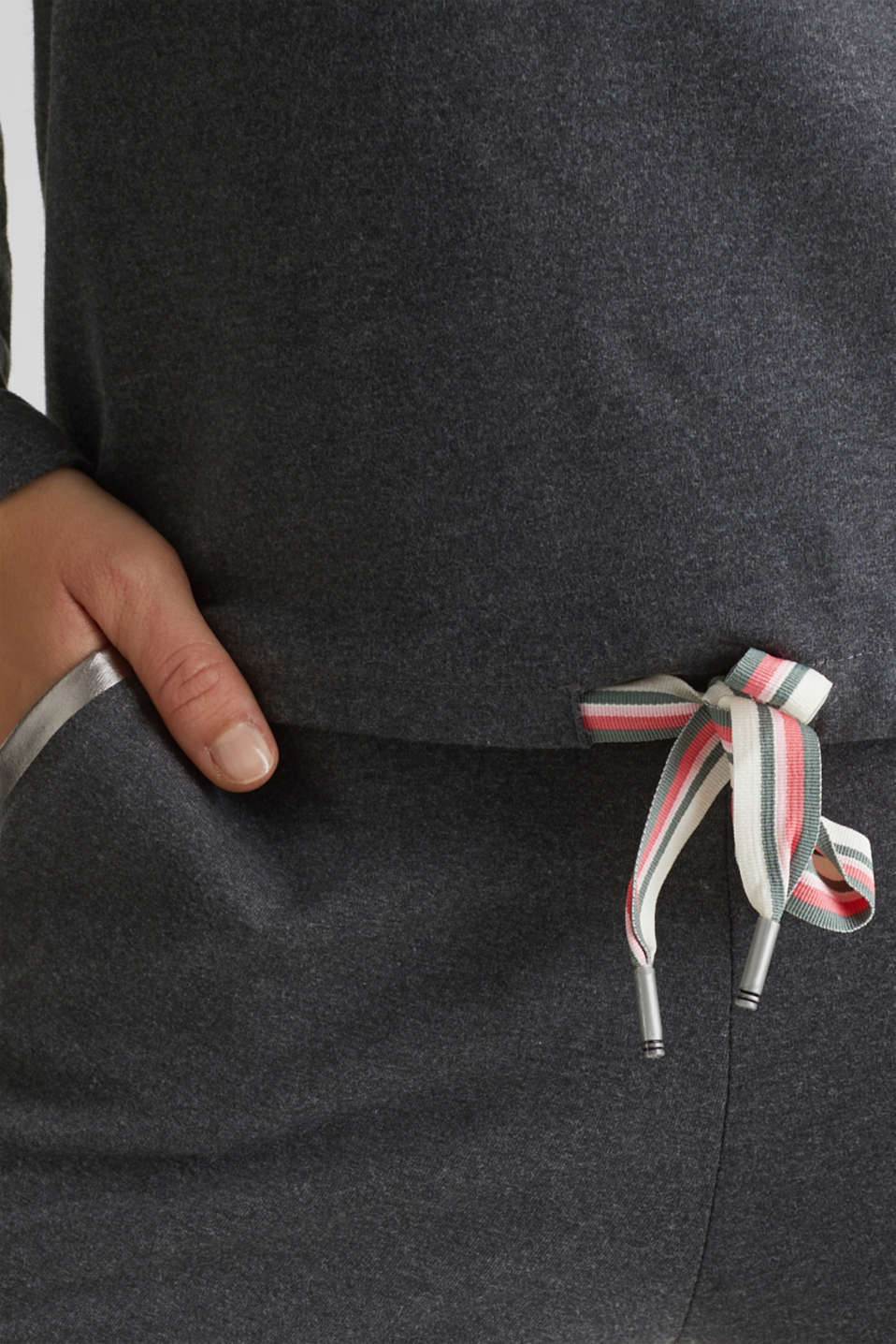 Lightweight sweatshirt with stripes and drawstring ties, ANTHRACITE 2, detail image number 2